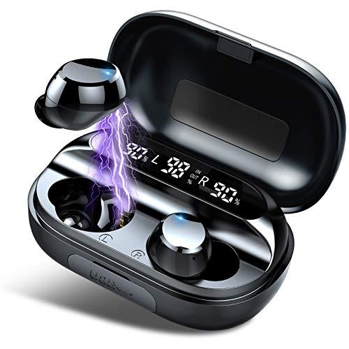 Tiksounds Kopfhörer Kabellos, In Ear Bluetooth 5.0 Kopfhörer mit Mic, 150H Spielzeit mit LED Anzeige Ladebox, IPX7 Wasserdicht, Sport Ohrhörer für Reisen, Arbeit