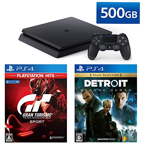 PlayStation 4 + グランツーリスモSPORT + Detroit: Become Human セット (ジェット・ブラック) (CUH-2200A...