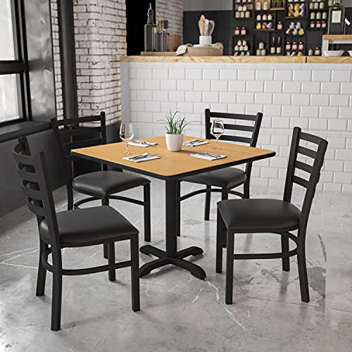Flash Furniture 36'' Square Natural Laminate Table Set with X-Base and 4 Ladder Back Metal Chairs - Black Vinyl Seat