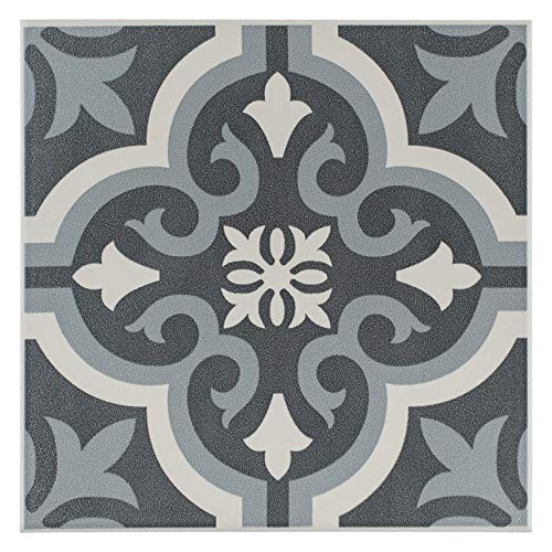 SomerTile FTC8BRBK Bracara Ceramic Floor and Wall Tile, 7.75' x 7.75', Grey