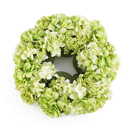 artplants.de Sommerlicher Hortensienkranz aus künstlichen Blumen auf Rattan, apfelgrün, Ø 35cm - Türkranz - Kunst Hortensie