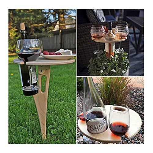 GJXJY - Mesa de jardín plegable para exterior – Mesa de vino plegable y mesa de picnic portátil, mini mesa de picnic conectable de madera, soporte de copa de vino 2 unidades
