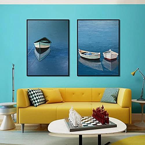 Cuadro sobre lienzo para pared, póster de paisaje moderno, impresión de un bote pequeño en agua tranquila, imagen para decoración de sala de estar del hogar / 50x70cmx2 sin marco