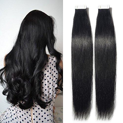 TESS Tape Extensions Echthaar Schwarz Klebeband Haarverlängerung Remy Tape in Human Hair günstig 40 Tressen x 4 cm 100g-45cm(#1)