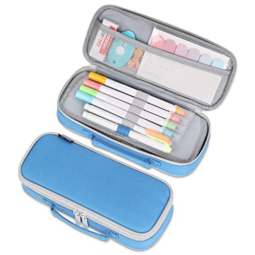 Tiyafuro Pencil Case, Portable Stationery Pencil Pouch, Handheld Pencil Bag with Zipper, Makeup Bag, Multifunctional Pen Pouch, for Boys Teens Adults Students School Office Supplies (Lake Blue)