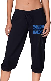 Womens Welder My Official Title Most People Call Me Badass Cropped Trousers Athletic Yoga Pants for Women