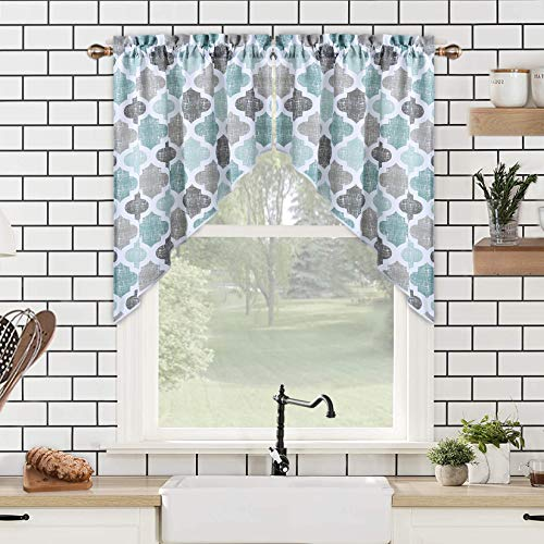 "Swag Curtain Valances, Geometric Quatrefoil Trellis Printed Cotton Blend Tailored Swag Curtains for Kitchen Bathroom Window, Aqua/Mint/Grey, 56"" W x 36"" L"
