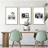 LIPENGYU Tela Pittura Decorazione Radiocamera Nero Bianco-60x80cm Senza Cornice