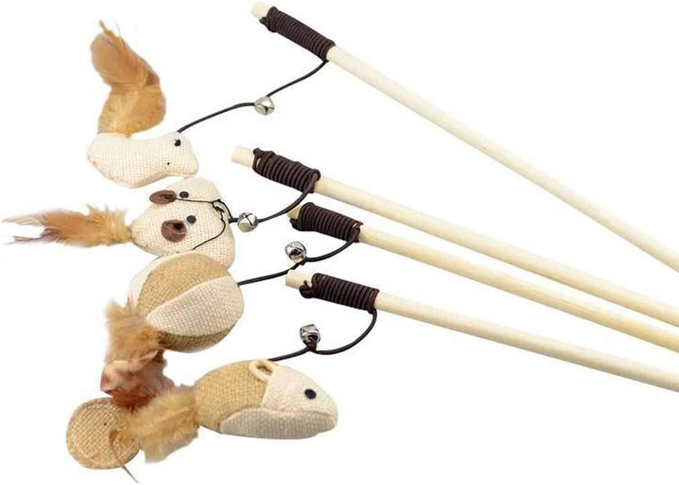 ball Gcroet 1pc Pet Cat Catcher Toy Wooden Pole with Bells Elastic Rod Funny Cat Mouse Head Teaser Toy Wooden Cat Toy Wand with Feather