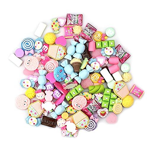 100 Pezzi Colori e Forme Assortiti Caramelle Miste in Resina Cabochon per Slime per Custodia per Artigianato Telefono e Fascia per Capelli per Bambini