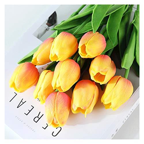 RWX Tulip Künstliche Blume, 10 Stück Gefälschte Blumenstrauß, Für Wohnzimmerinnenraum Esstisch Und Teetischdekoration (Color : Champagne)