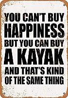 メタルデコレーションサイン幸せを買うことはできませんが、カヤックを買うことができます-ビンテージ装飾ティンサイン。