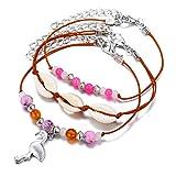 MENGYUE 3Pcs / Set Bohemian Vintage Shell Bird Colgante Pink Beads Toklet Set para Mujer