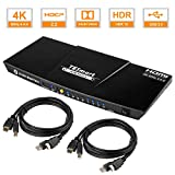 TESmart 4-Port HDMI KVM Switch – 4K 60Hz UHD - Audio Output and USB Sharing...