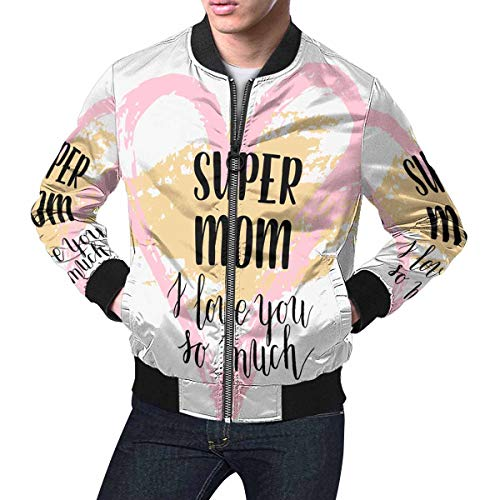 INTERESTPRINT Men's Casual Slim Fit Printed Outerwear Coat Happy Mothers's Day, Mom Your are The Best.Png L