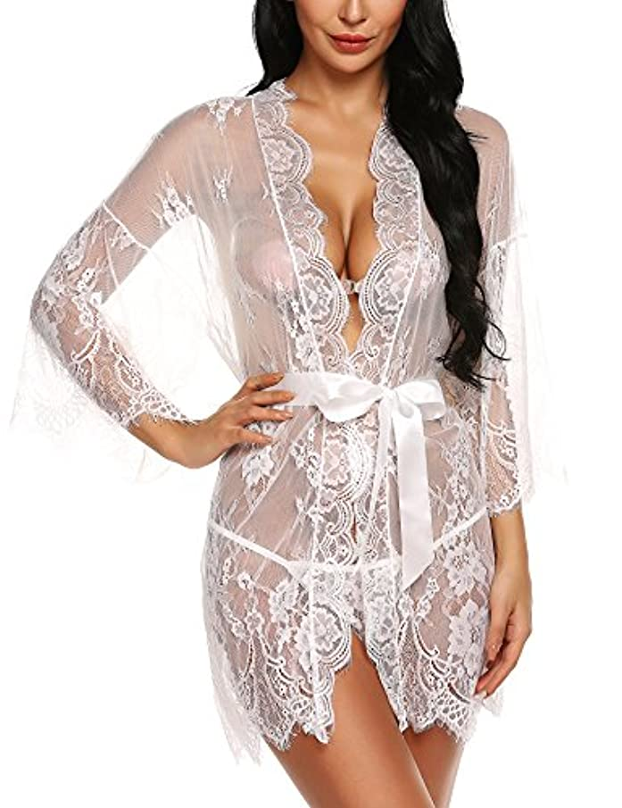 Ababoon Women's Lace Kimono Robe Babydoll Lingerie Mesh Nightgown G-String