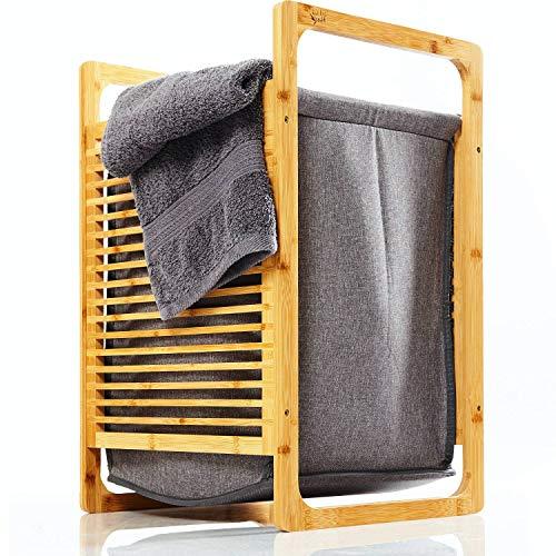 bambuswald© colector de Ropa ecológica de bambú | Caja Plegable extraíble de Tela - Estante para el baño y el Dormitorio Aprox. 60x40x35cm | Cesta de lavandería clasificador de lavandería