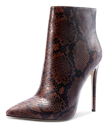 CASTAMERE Damen Reißverschluss Stiefeletten Stilettos Hoch Heel 12CM Braun Schlange Schuhe EU 43