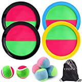 R HORSE Paddle Catch Ball Set Toss and Catch Ball Game Set 4 Hook and Loop Adjustable Self-Stick Paddles 6 Balls with Storage Bag (11 Packs)