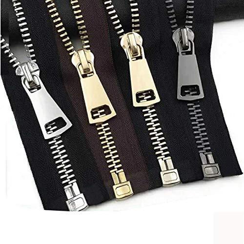 GoGOO 2 unids 15/60/70 / 80cm 5# Cremalleras de Metal Cerradura automática Zips para la Capa de Abrigo Down Barms Zapatos Zapatillas de la Cremallera Ropa de Bolsillo Accesorios de Costura