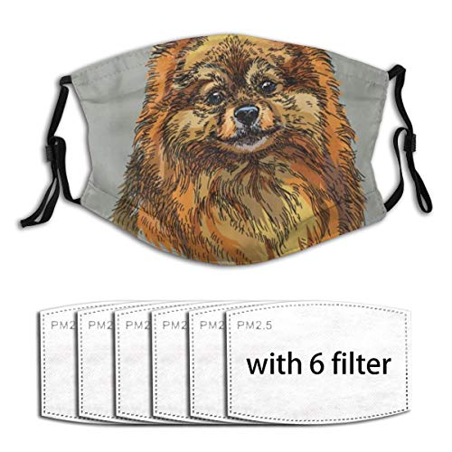 WINCAN Face Cover Pomeranian Hand Drawn Style Sketchy of A Purebred Domestic Puppy Balaclava Reusable Windproof Anti-Dust Mouth Bandanas Outdoor Motorcycle Neck Gaiter with 2 Filters for Men Women
