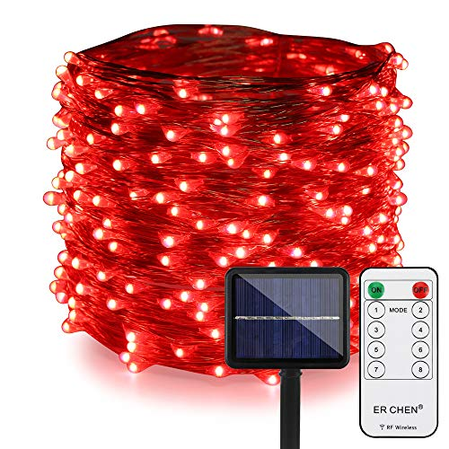 ER CHEN Outdoor Solar String Lights, 99Ft 300LEDs 8 Modes Fairy Lights with RF Remote, Waterproof Copper Wire Lights for Party, Patio, Garden, Yard (Red)