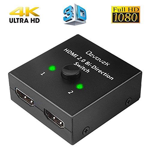 Ozvavzk HDMI Switch 2 in 1 Out Bi-Direction HDMI Splitter 1 in 2 Manuell HDMI Switcher Unterstützung HD 4K 3D 1080P für Xbox / PS4 / HDTV / Blu-Ray/ DVD