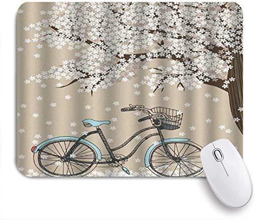 VORMOR Mauspad - Mehrfarbiger Fahrrad blühender Baum mit kleinen weißen Blumen im Frühling und einem Fahrrad-Skizzen-Kunstwerk - Gaming und Office rutschfeste Gummibasis Mauspads,240×200×3mm