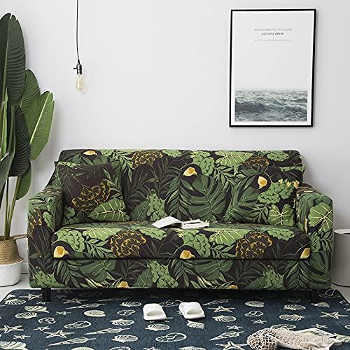 PPOS Funda de sofá elástica con Hojas Tropicales Funda de sofá elástica Funda seccional para Sala de Estar Protector de Muebles para sofá A4 1 Asiento 90-140cm-1pc