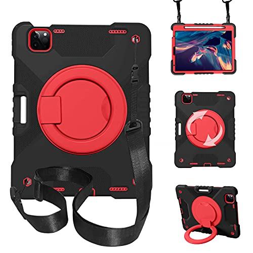 LGQ Funda para iPad Pro 11, Funda Multifuncional para Niños Giratoria De 360 °, con Portalápices Y Correa para El Hombro, Adecuada para Apple iPad Pro 11 2020 & 2018 Air 4 10,9',Black Red
