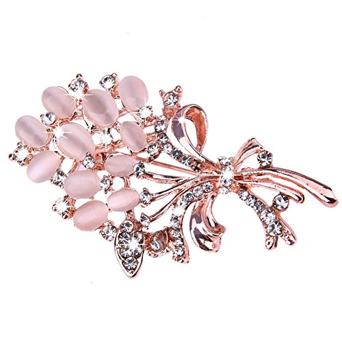 Demiawaking Elegant Diamante Brooches Bouquets Flowers Opals Crystal Brooch Pins Corsage Wedding Bouquet Decor for Women