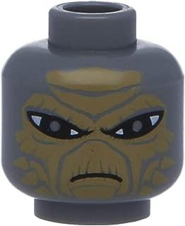 LEGO Figuren, Kopf Alien mit SW Shahan Alama Muster Dunkelgrau (Neugrau)