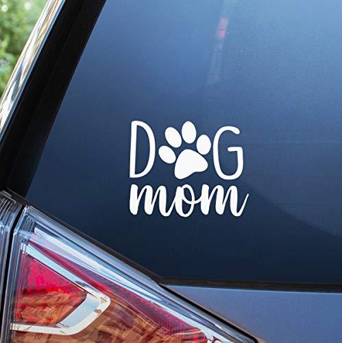 Blue Giraffe Inc Dog Mom Car Decal - 4'' Puppy Bumper Sticker for Your Car