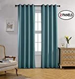 MIUCO Room Darkening Curtains Textured Grommet Thermal Insulated Blackout Curtains for Bedroom Set of 2 52x95 Inch Teal