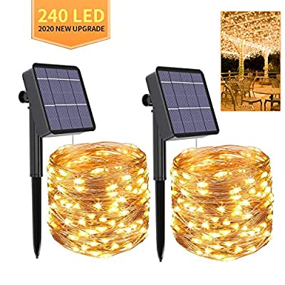 Solar String Lights,2-Pack Each 240 Solar Led String Lights,80 Ft Ultra Long Solar Christmas Lights Waterproof Copper Wire 8 Modes Flexible Fairy Lights for Garden Decorations Outdoor (Warm White)