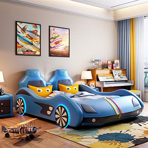 ZXM Autokinderbed van massief hout multifunctionele draaimachine enkele jongen meisjes cartoon creatieve lederen riem kleine kinderen bed met matras, stereo-installatie, LED-lampen lopen 150*190cm blauw