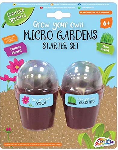 Grow Your Own Micro Garden Starter Set Cosmos Plants & Chee Grass Outdoor Growing Kit