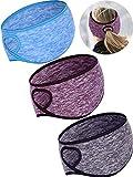 Tatuo 3 Pieces Fleece Ponytail Headband Earband Winter Running Headband Ear Warmer Headband for Women Girls Outdoor Sports and Fitness (Grey, Blue, Coffee)