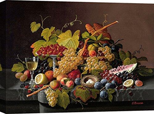 Art Print Cafe – Quadro - Stampa su Tela – Severin Roesen, Natura Morta con Frutta e Un Nido – 60x40 cm