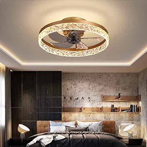 CGXYZ - Ventilador de techo con luz LED 30W, 3 tonalidades, aspas interiores escondidas y protegidas, 6 velocidades, control remoto, memoria y temporizador, 50cm diámetro