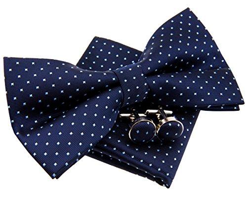Retreez Herren Gewebte vorgebundene Fliege Kleinen Punkten 13 cm und Einstecktuch und Manschettenknöpfe im Set, Geschenkset, e - marineblau mit hellblau punkten