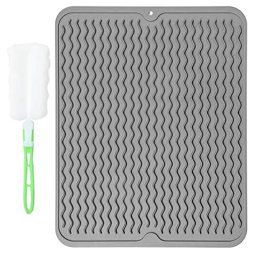 Alfombrilla de silicona para escurrir platos, resistente al calor y antideslizante, fácil de limpiar, con cepillo de limpieza, gris, grande, 40 x 30 cm