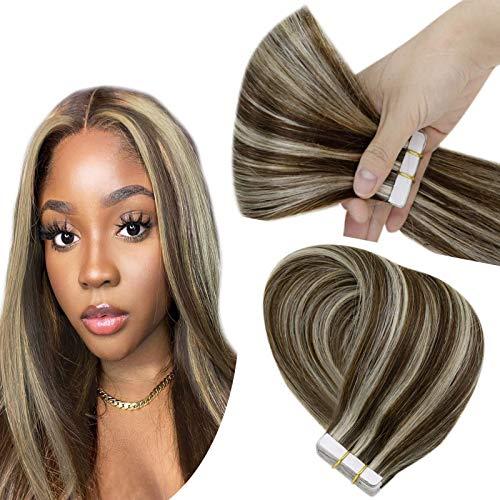 Hetto Extension Bande Adhesive Blonde Brune Mixte Platine La Plus Foncée Remy Human Hair Glue in Cheveux Naturel Bande Adhesive Extension 14 Pouces 20 Pièces 50g par Paquet