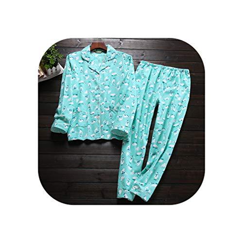 Green Plaid Herfst Winter pyjama Vrouwen Lange Mouw Cartoon Vrije tijds pak Katoen pyjama pak Nachtkleding