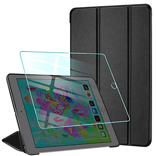 AROYI Cover iPad 2018/2017 9.7 Pollici + Vetro temperato Custodia Ultra Sottile Leggere Magnetico Smart Stand Supporto con Auto Sonno/Sveglia la Funzione per Apple iPad 2018/2017 -Nero