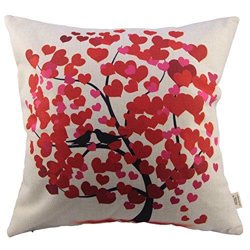 HOSL Cotton Linen Square Decorative Throw Pillow Case Cushion Cover Red...