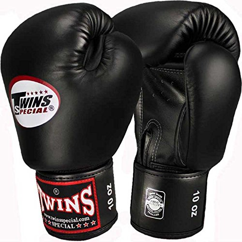 Twins Boxhandschuhe, Leder, schwarz, Muay Thai, Leather Boxing Gloves, MMA Size 12 Oz