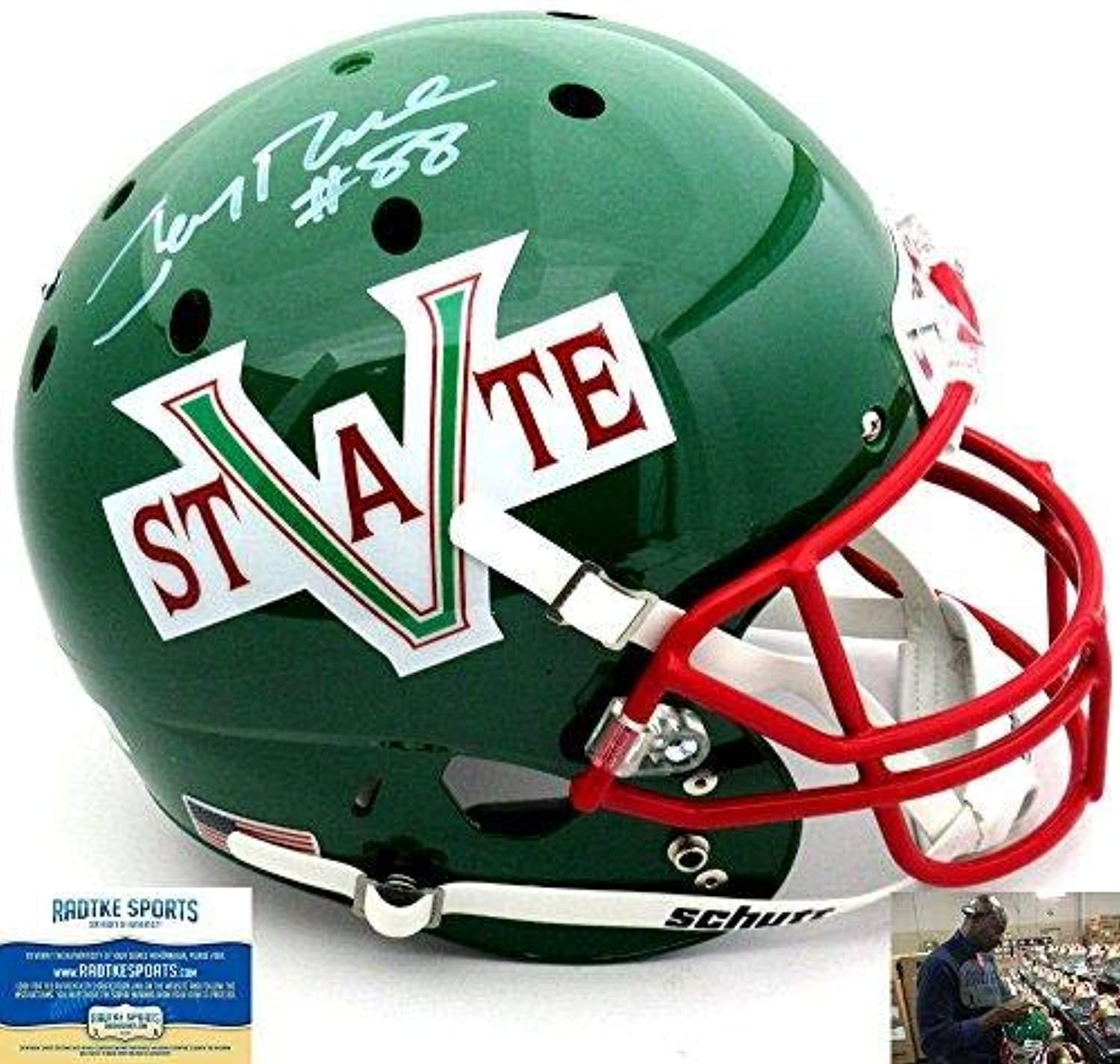 Jerry Rice Autographed Signed Mississippi Valley State Delta Devils Schutt Full Size NCAA Helmet  Autographed College Helmets
