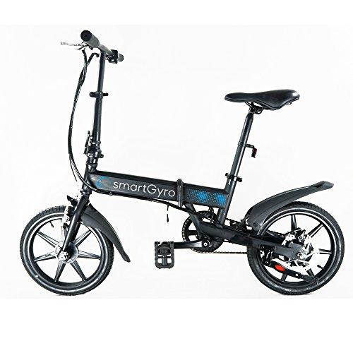 """SmartGyro Ebike Black - Bicicleta Eléctrica, Ruedas de 16\"""", Asistente al Pedaleo, Plegable, Batería extraíble de litio de 4400 mAh, Freno V-Brake y Disco, Autonomía 30-50 Km, color Negro"""