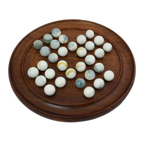 Indische handgemachte Holz Marmor Solitaire Set - alles was Sie brauchen, um Marmor Solitaire Spiele zu spielen